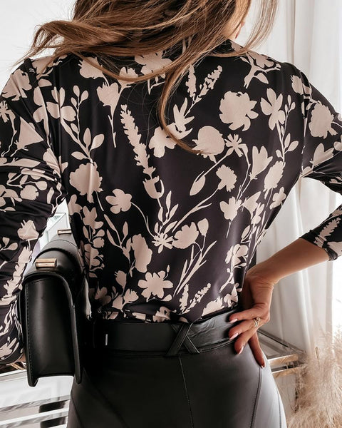Floral Print Long Sleeve Wrap Top