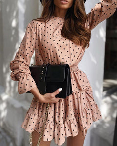 Polkadot Print Knotted Ruffles Dress