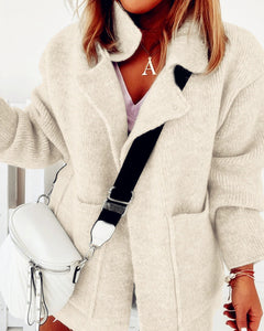 Plain Pocket Design Long Sleeve Knit Cardigan