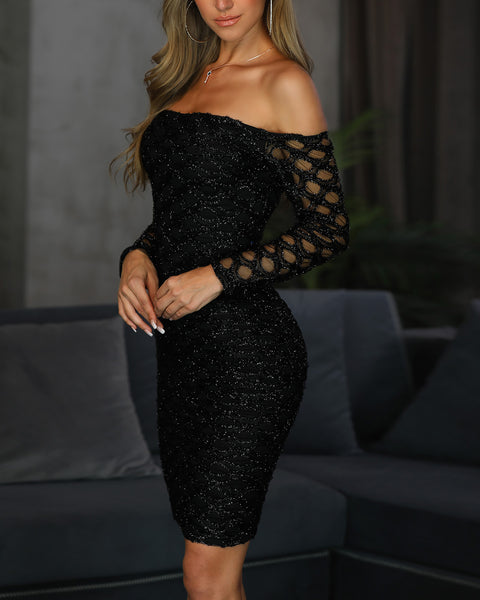 Glitter Off Shoulder Fishnet Insert Bodycon Dress