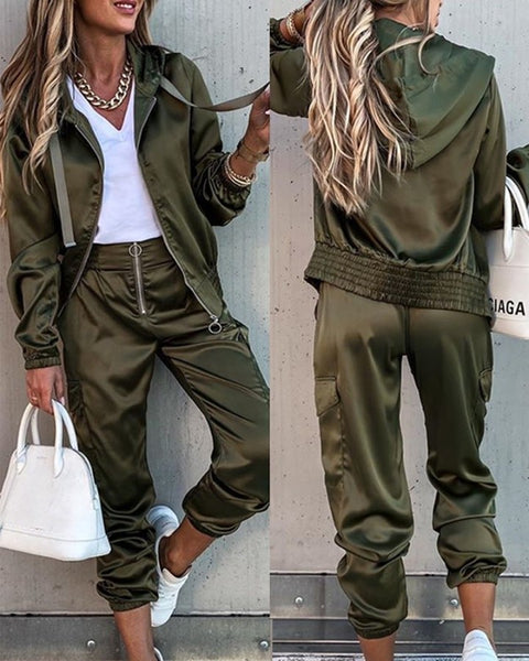 Solid Long Sleeve Loose Hoodies Suit Sets