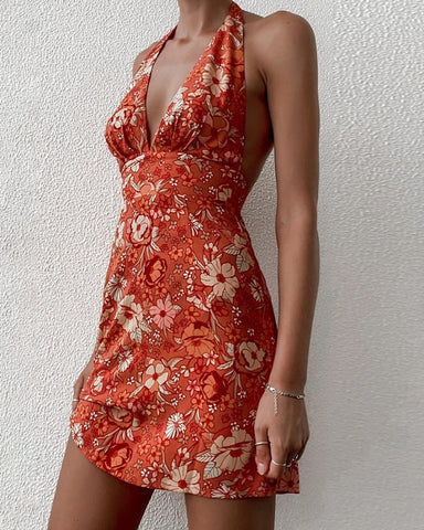 Floral Print Halter Backless Mini Dress