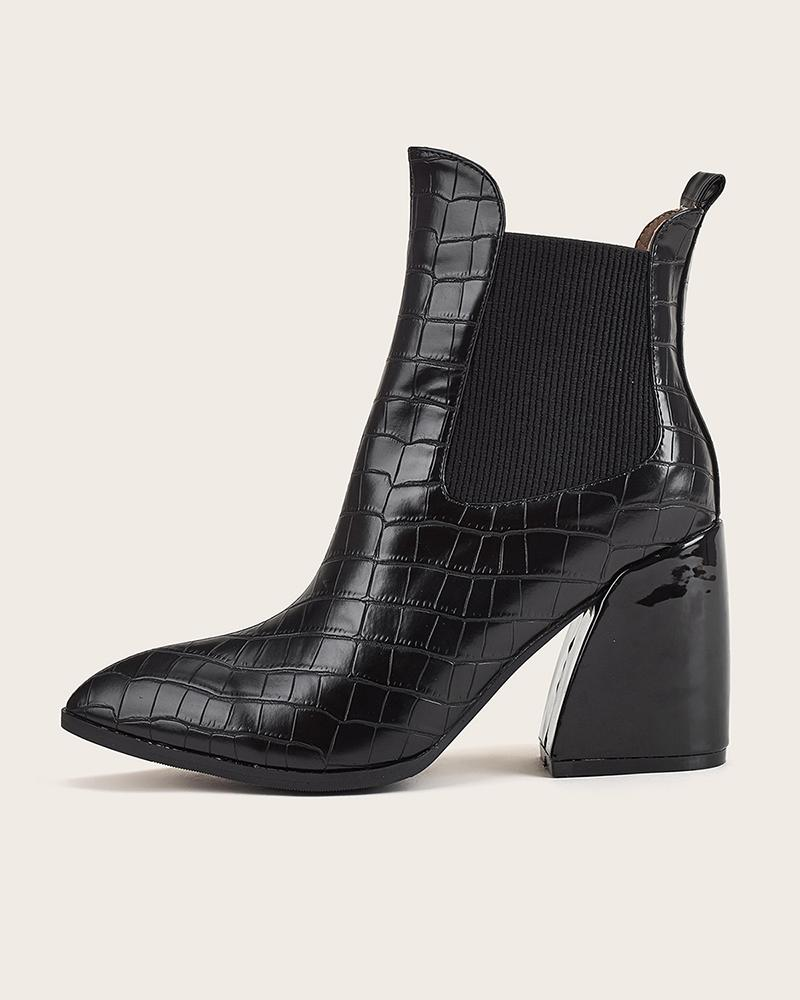 Colorblock Pointed Toe Block Heels Leather Chelsea Boots