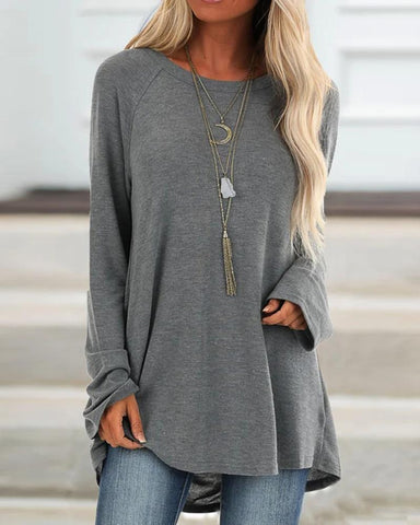 Solid Loose Long Sleeve Casual Top