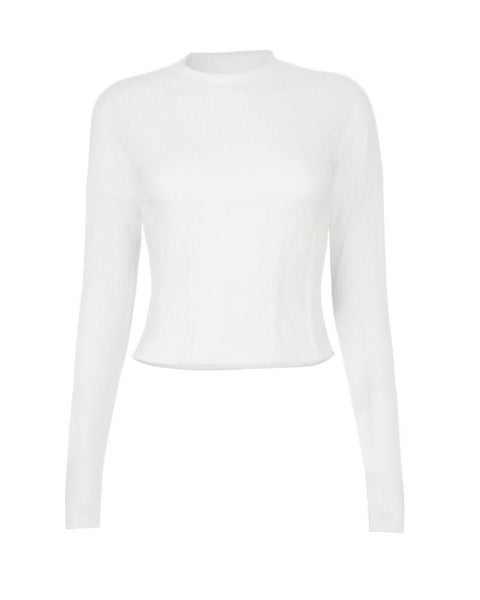Plain Ribbed Long Sleeve Sweater