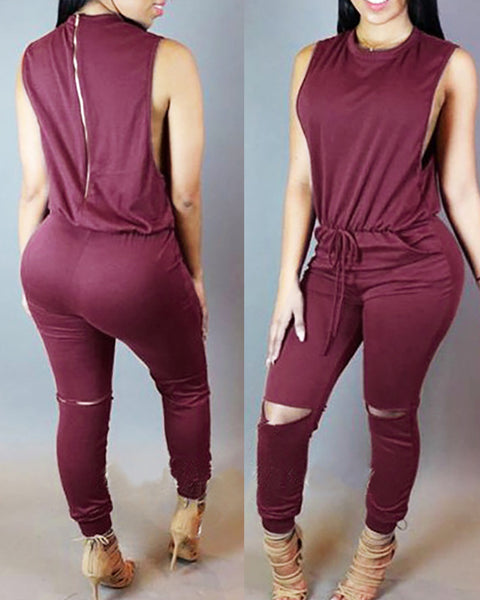 Sleeveless Solid Top & Drawstring Cut Out Pants Set