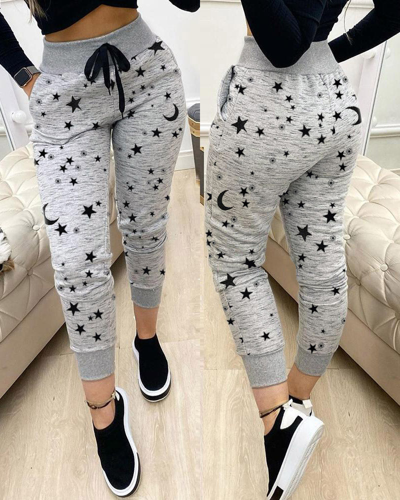 Star Moon Print Drawstring Pockets Sweatpants