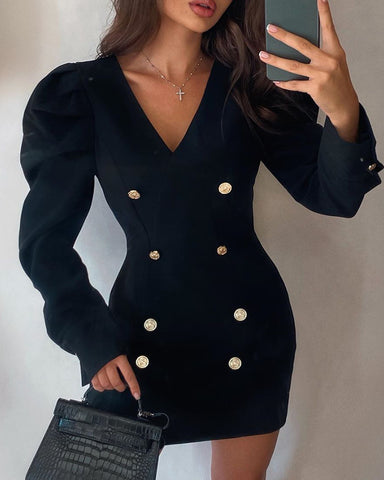 Puffed Sleeve Double Breasted Bodycon Dress