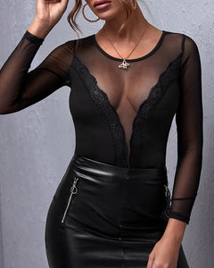 Sheer Mesh Long Sleeve Top