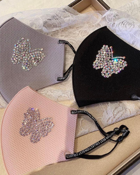Glitter Butterfly Pattern Studded Breathable Mouth Mask