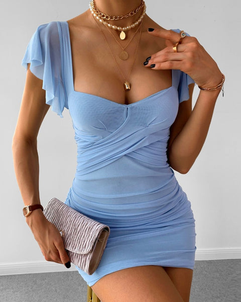 Ruffles Ruched Backless Bodycon Dress