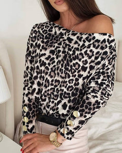Cheetah Print Button Design Long Sleeve Top