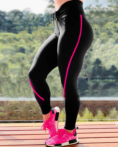 Solid Color Side Striped High Waist Skinny Yoga Pants