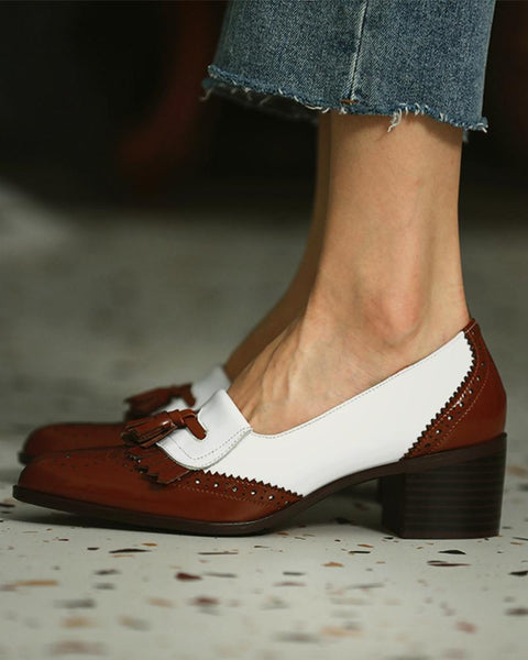 Retro Shallow Colorblock Tassel Loafers