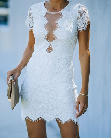 Solid Lace Contrast Short Sleeve Mesh Contrast Cut-out Mini Dress