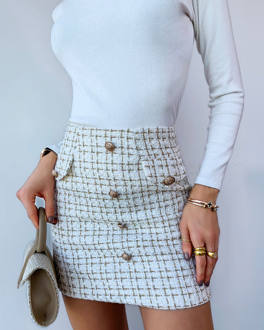 Plaid Button Design Tweed Skirt