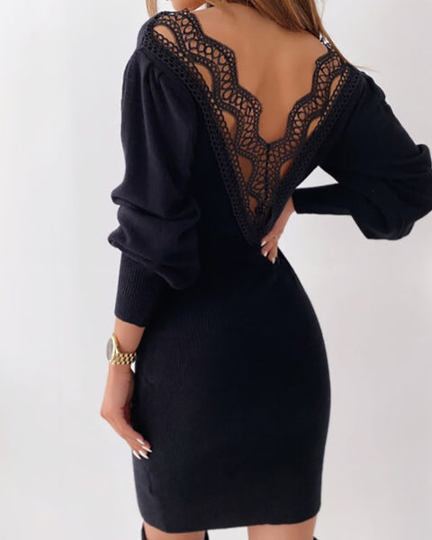 Lace Trim Backless Lantern Sleeve Sweater Dress