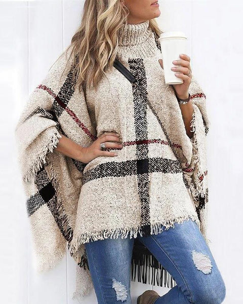 Colorblock Tassel Design Cape Sleeve Knit Sweater