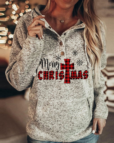 Christmas Letter / Tree / Butterfy Print Casual Hooded Top
