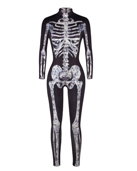 Skull Skeleton Print Zip Back Halloween Costume Jumpsuit