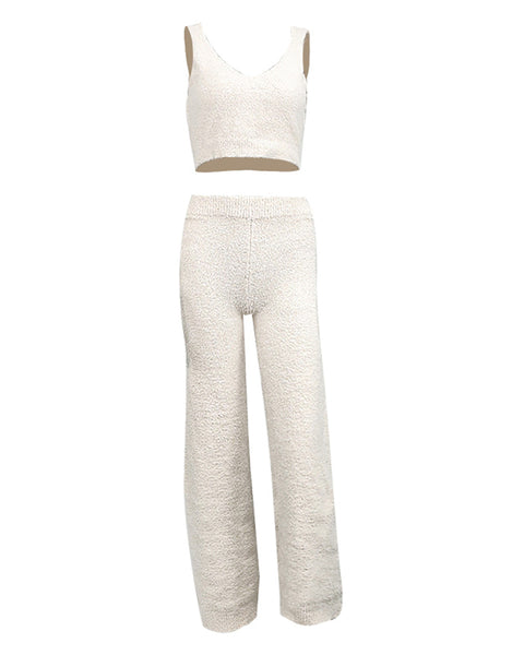 Solid Fluffy Crop Top & High Waist Pants Set