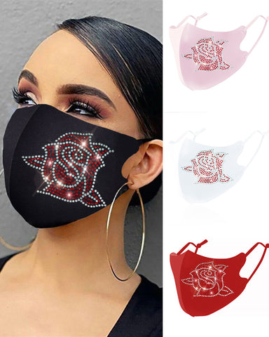 Floral Pattern Studded Breathable Face Mask