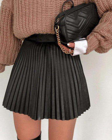 Plain High Waist Pleated Skirt