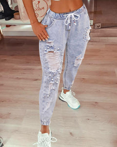 Beaded Ripped Cutout Denim Pants