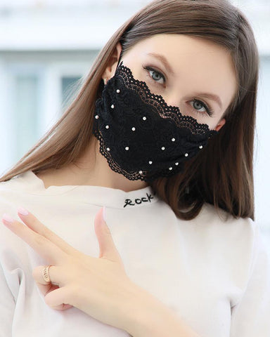 Lace Pearl Dust-proof Face Mask