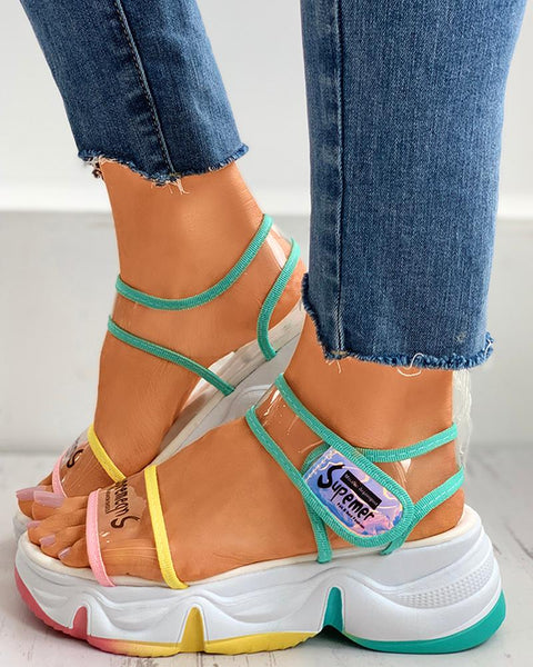 Clear Perspex Letter Print Colorblock Muffin Sandals