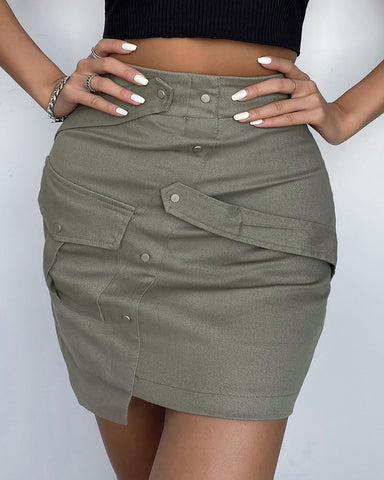 High Waist Pocket Design Skirt