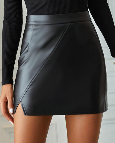 High Waist Slit Pu Leather Skirt