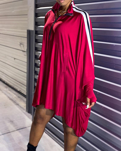 Color Block Long Sleeve Loose Dress