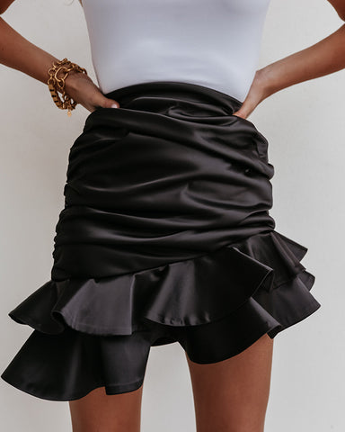 Ruffles Hem Ruched Plain Skirt