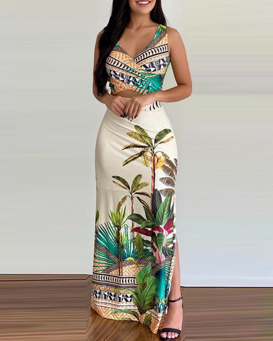 Tropical Print Wrap Crop Top & High Waist Slit Skirt Set