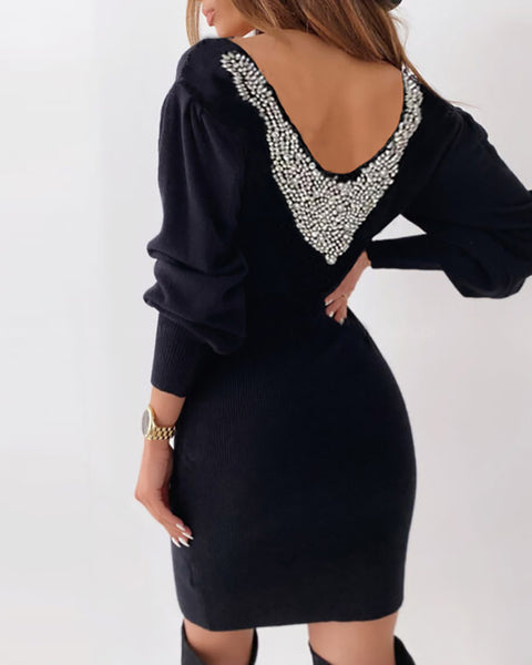 Studded Backless Lantern Sleeve Sweater Dress