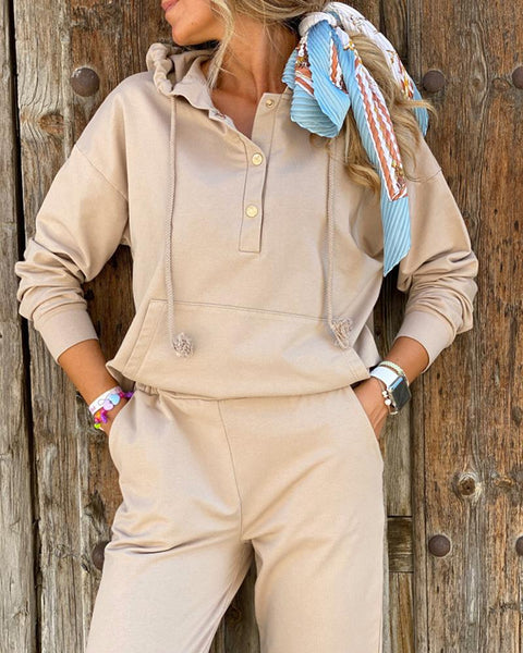 Buttoned Casual Hooded Top & Pocket Design Pants Set