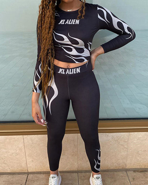 Printing Long Sleeve Sports Suit Sets