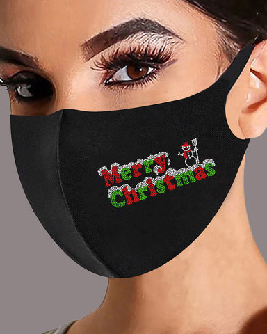 Christmas Letter Graphic Pattern Studded Face Mask