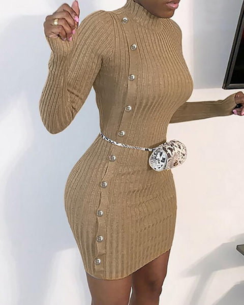Button Design Knit Long Sleeve Dress