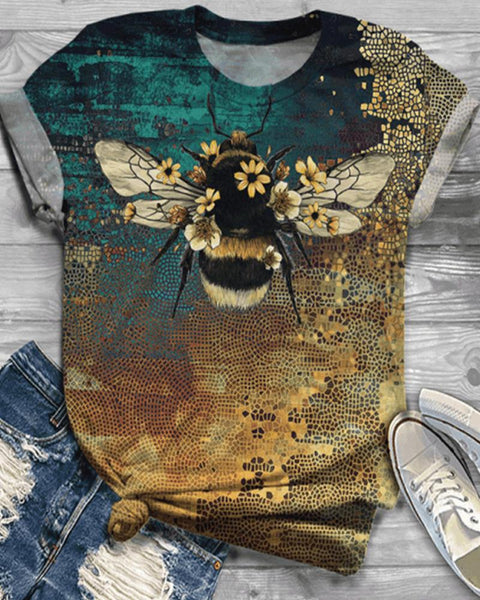 Bee Print Short Sleeve Loose T-shirts
