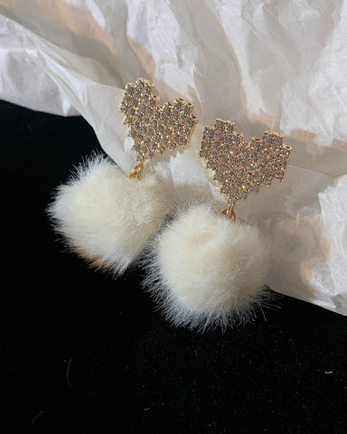 Heart Pattern Studded Pom Pom Drop Earrings