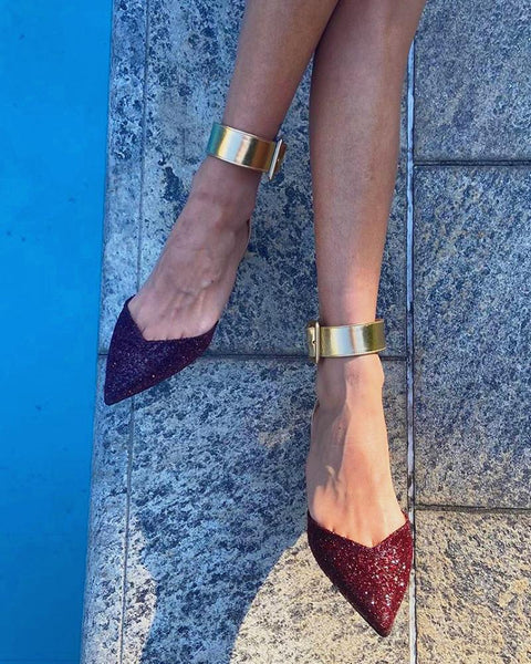 Sequin Solid Color Pointed-toe Flat Sandals