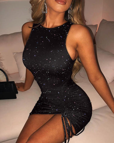 Drawstring Glitter Ruched Bodycon Dress