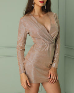 Glittering Deep V Long Sleeve Bodycon Dress