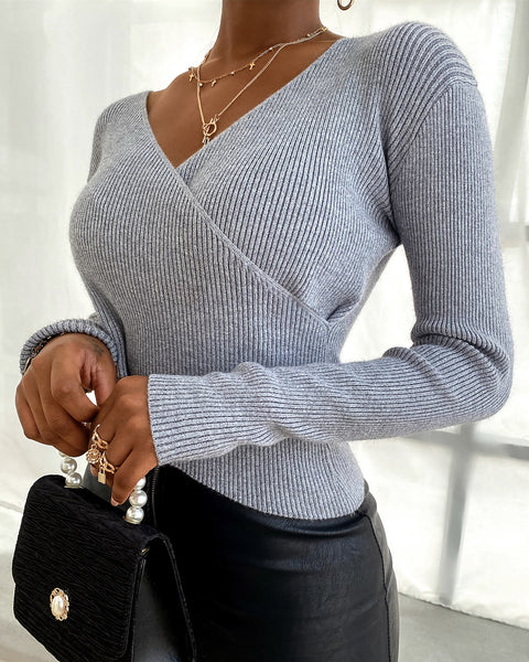 Solid Wrap Long Sleeve Knit Sweater