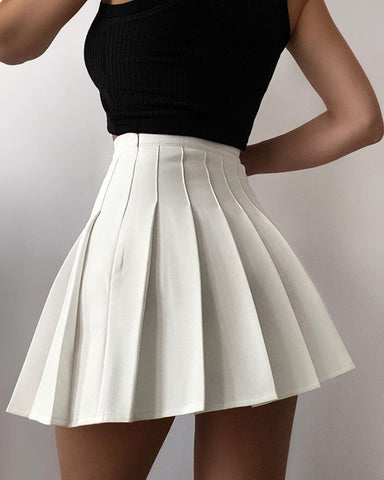 Pleated High-Rise Mini Skater Skirt