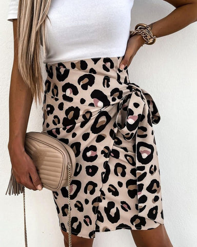Cheetah Print High Waisted Tied Detail Skirt