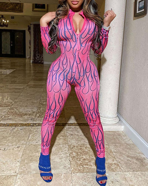 Sexy Printing Long Sleeve Jumpsuit