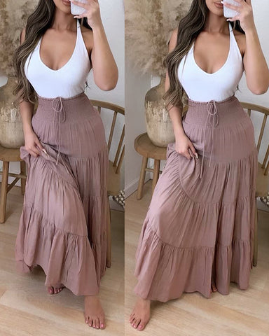 High Waist Drawstring Shirring Detail Maxi Skirt